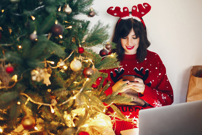 holidays - woman texting