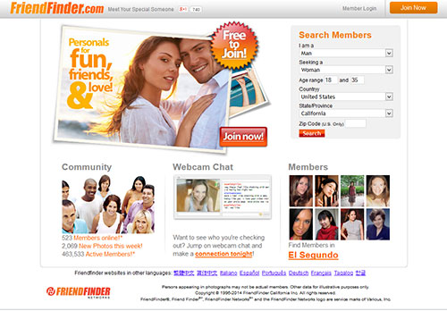 FriendFinder Home Page