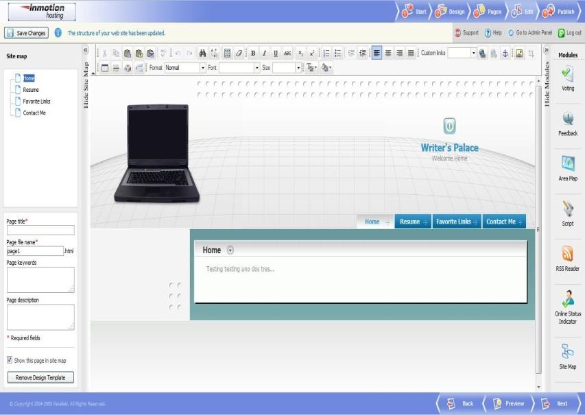 InMotion's Web Builder